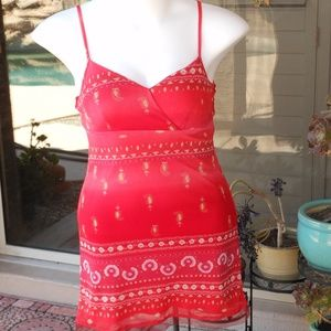Red Paisly w pink flowers Sundress